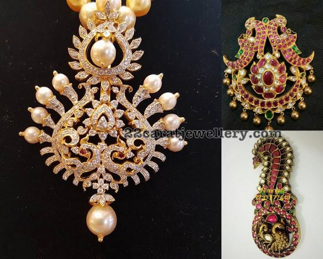 Diamond Ruby Peacock Pendants