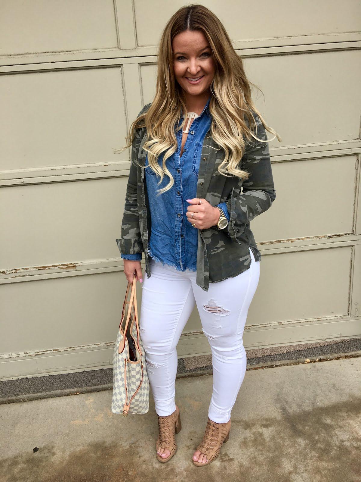 Camo Shirt + Chambray Combo by Denver fashion blogger Delayna Denaye