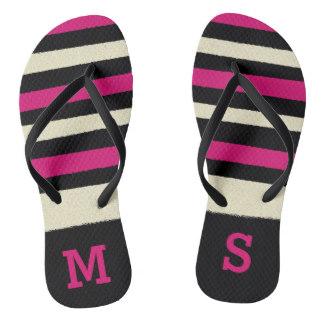 Personalized Flip Flops for Mom - Monogram Hot Pink Cute Modern Trendy Pattern Flip Flops