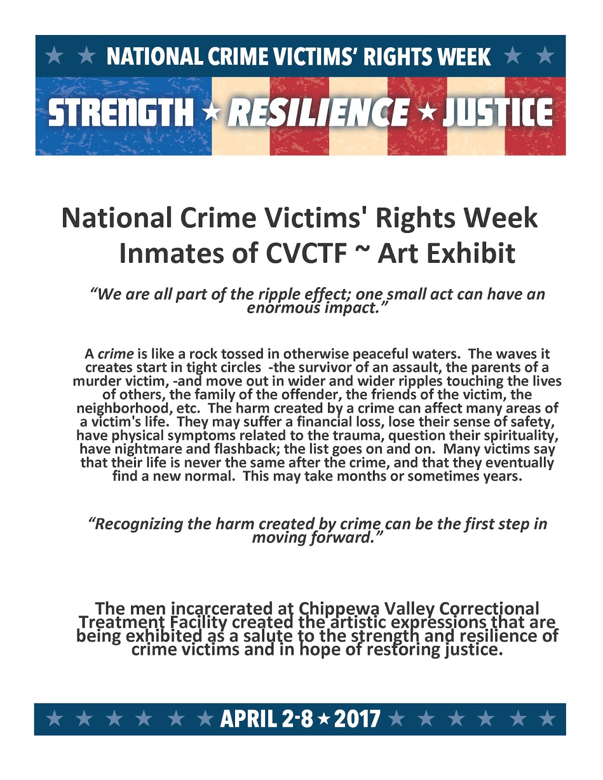 uw stout library news national crime victims rights week art exhibit