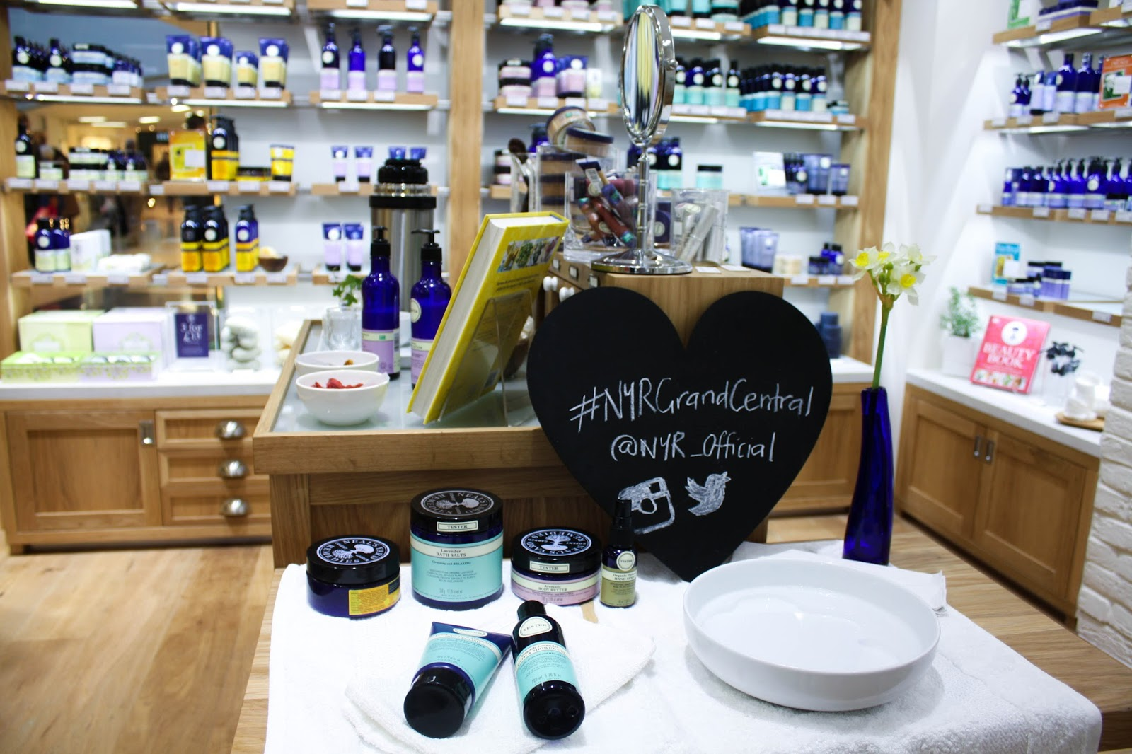 Blue bottles at Neal's Yard Remedies