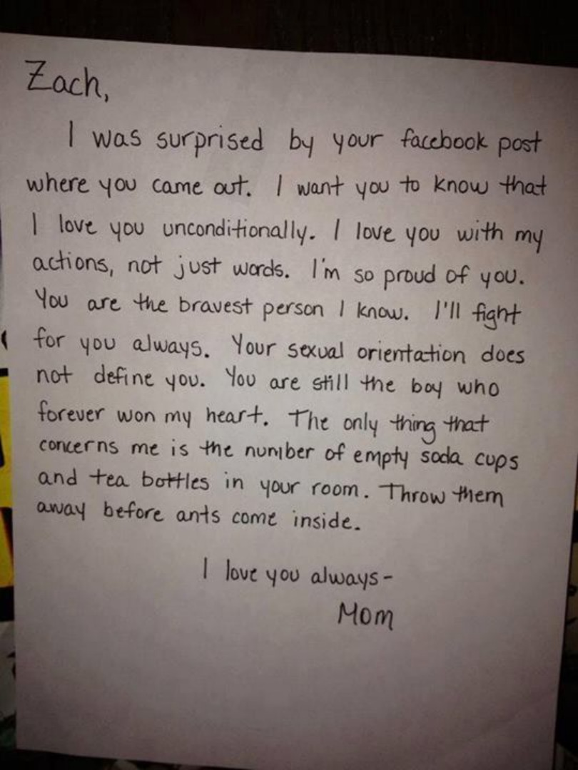 A boy came out on facebook his mother found out and decided to the letter expocarfo