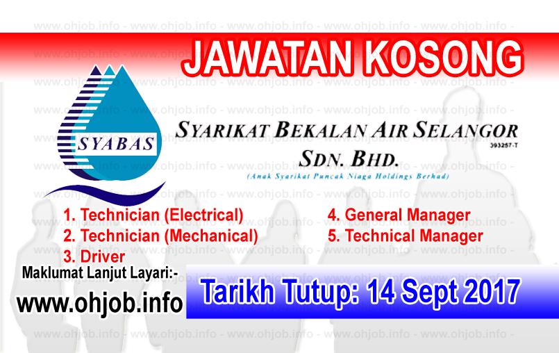 Jawatan Kerja Kosong Syarikat Bekalan Air Selangor - SYABAS logo www.ohjob.info september 2017