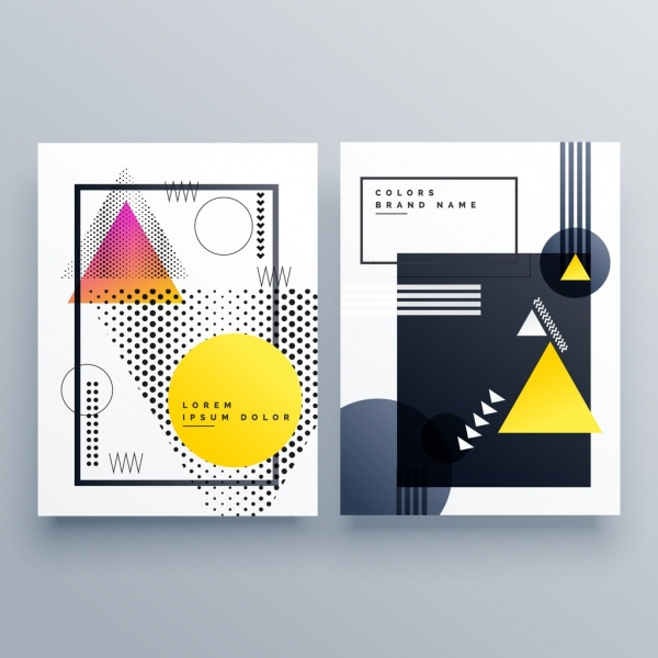 Brochure templates modern geometric decor Free vector