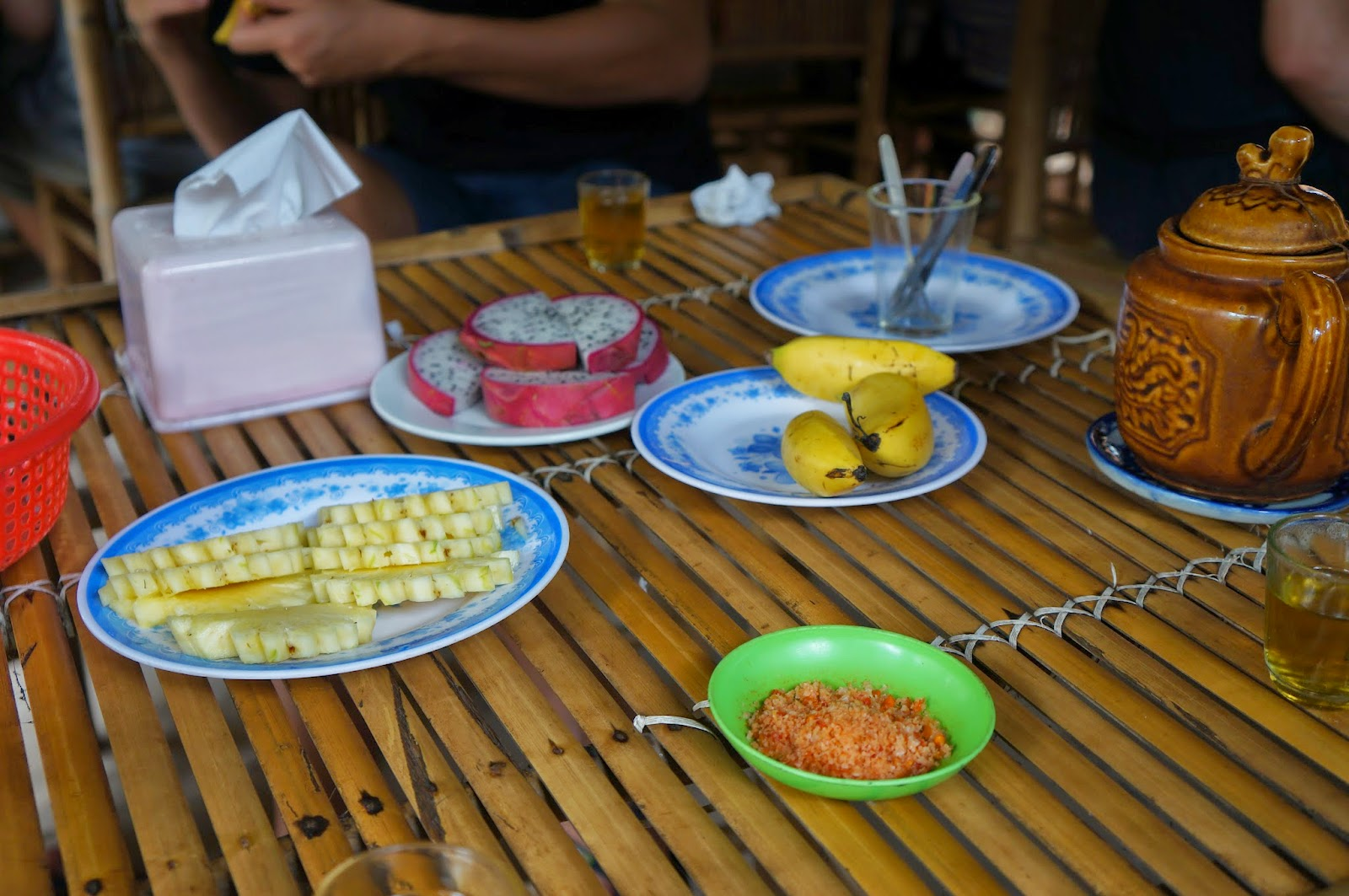 Fresh tropical fruits and tea