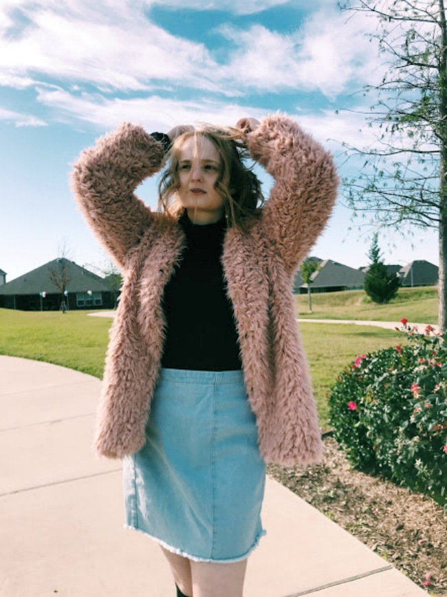 Teddy Coat And Denim Skirt Outfit