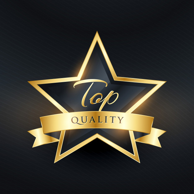 Top quality luxury label design with golden ribbon Free Vector