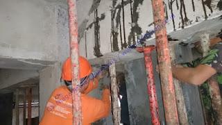 pekerjaan injeksi beton sebelum perkuatan serat karbon