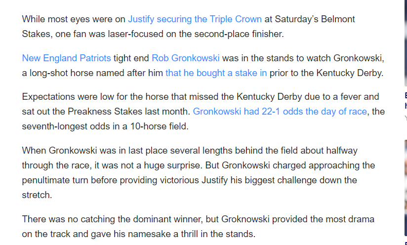 The Mindless Freaks: Rob Gronwkowski bets $69 on Horse named