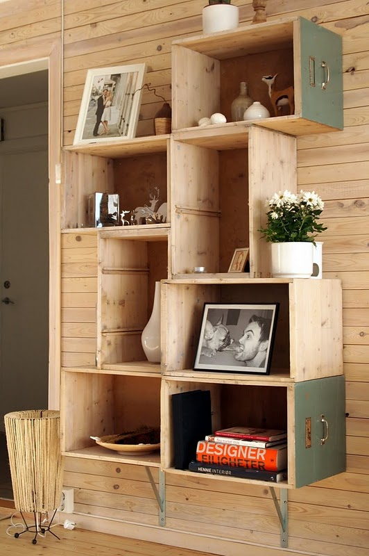This bookshelf is made from a recycled dresser
