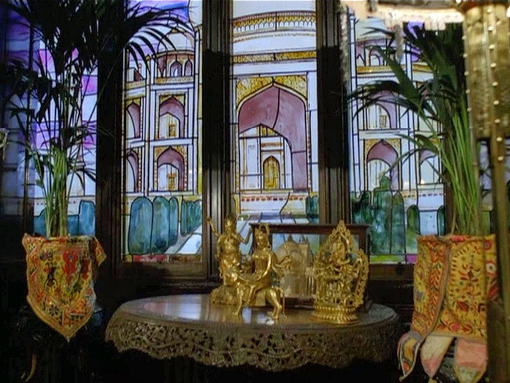 "Indian relics from Granada's ""The Sign of Four"" - stained glass Taj Mahal, Buddhist statue, etc."