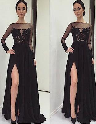 vestido largo negro elegante para adolescentes tumblr de moda 2018