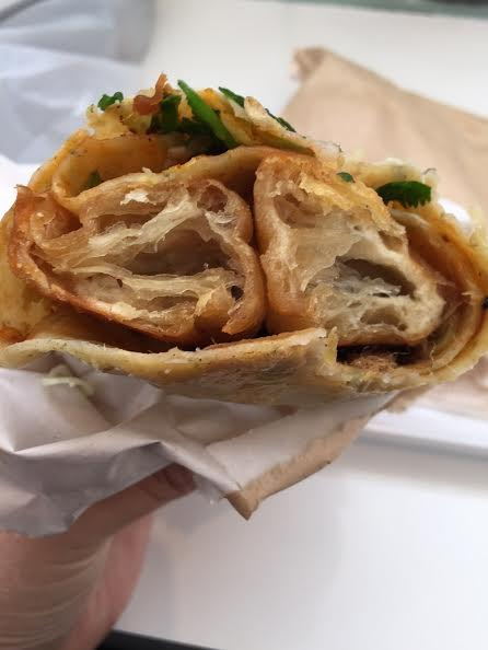 down the barrel of a crepe with chinese donut;  crepe village