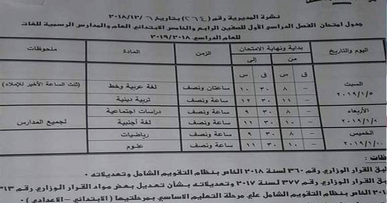 جدول امتحانات محافظة قنا 2019 نصف العام ابتدائي واعدادي وثانوي