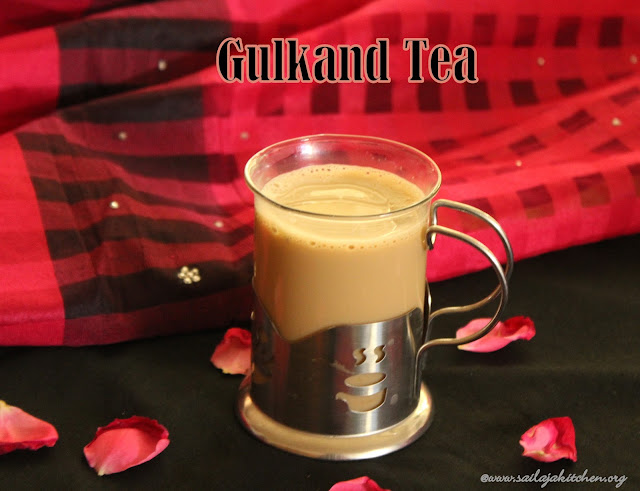 images of Gulkand Tea Recipe / Gulkand Chai Recipe / Rose Flavoured Tea