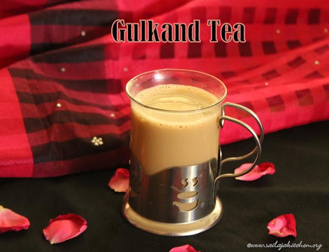 images of Gulkand Tea Recipe / Gulkand Chai Recipe / Rose Flavoured Tea