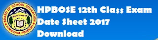 HP 12th Board Exam Date Sheet 2017