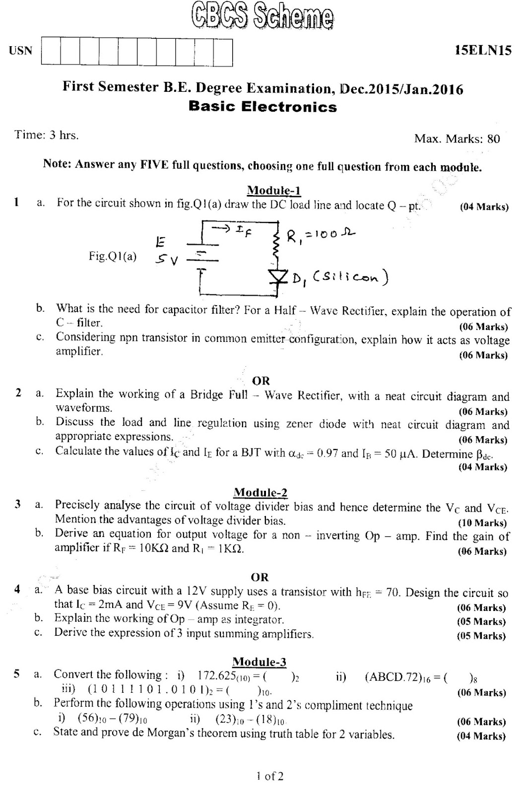 Basic Electronics Model Question Paper 2017 - Circuit Diagram Images
