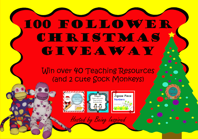 Being Inspired's 100 Followers Giveaway! Prizes include over 40 amazing teaching resources and 2 cute sock monkeys!!