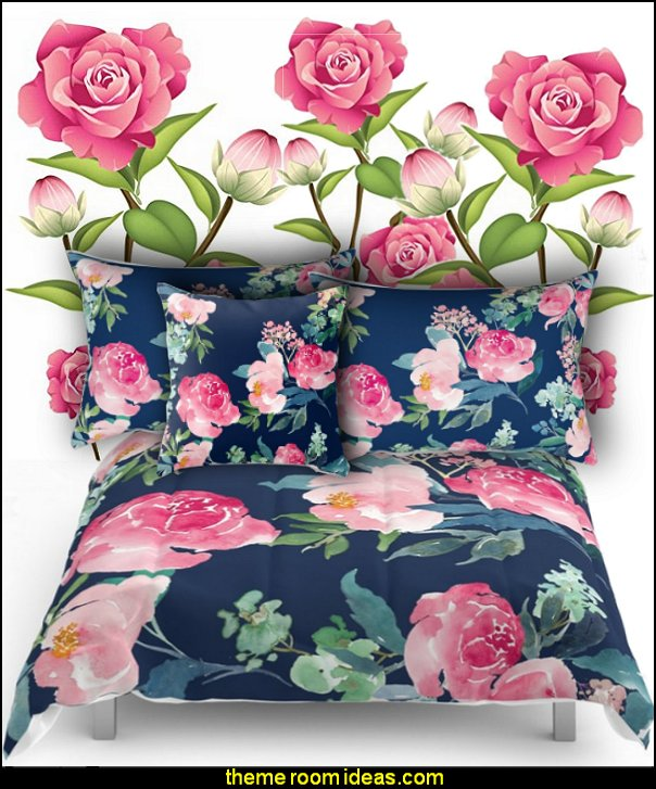 Navy and Pink Watercolor Peony bedding   floral bedding - flowers pillows - floral duvet covers - Floral Bedding Sets - flower theme bedding - Floral Print Bedding - floral comforters - floral pillows