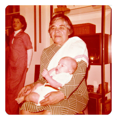 Clara Aceituno and her grand-daughter, Maria Olga—aka Milan Mejia-Prieto—in 1976 at 1776 Sweetwood Drive in Broadmoor, California.