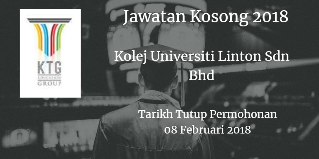 Jawatan Kosong Kolej Universiti Linton Sdn Bhd 08 Februari 2018