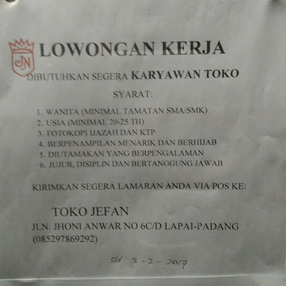 Lowongan Kerja di Padang – TOKO JEFAN – 2 Posisi (Februari 2017)