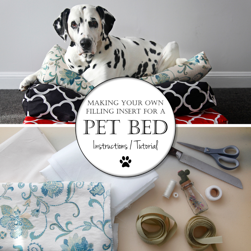Dalmatian diy making your own simple dog bed insert cushions for Make a cat bed out of a box