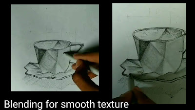 How to blend the Cup and saucer for drawing