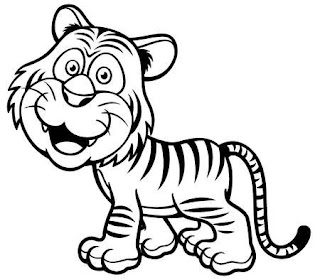 Cute Baby Tiger Cartoon Images Coloring Pages