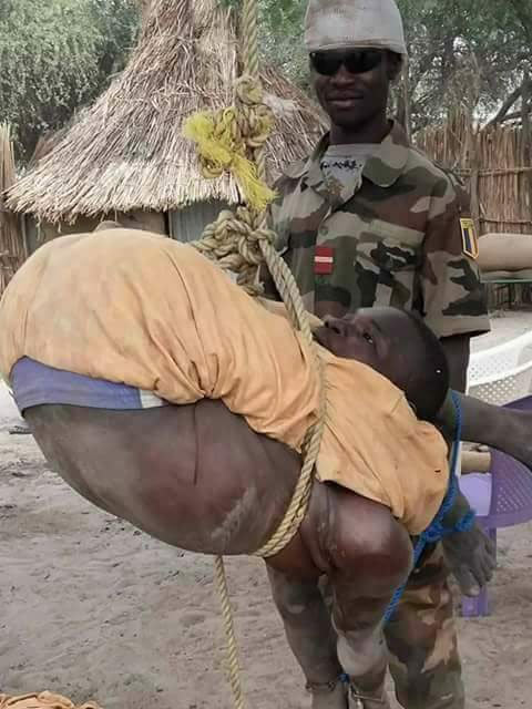Check out how soldiers tied suspected Boko Haram member