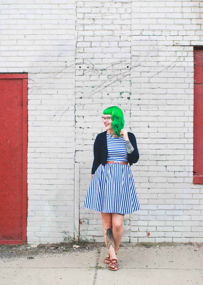 what I wore, ootd, striped dress, green hair, kaylah doolan