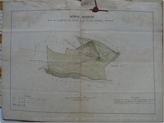 """plan of the domain of Napoleon Vale"" attaché au document ""N°3 - Indenture of Sale from Stephen Fraser Pritchard for £1600 - Napolens Vale"" – document joint au bordereau ""31st July 1858 - Colonial Secretary's Office"" – Collection des domaines français de Sainte-Hélène"
