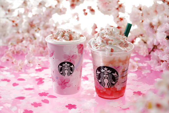 Starbucks Sakura Latte and Frappuccino