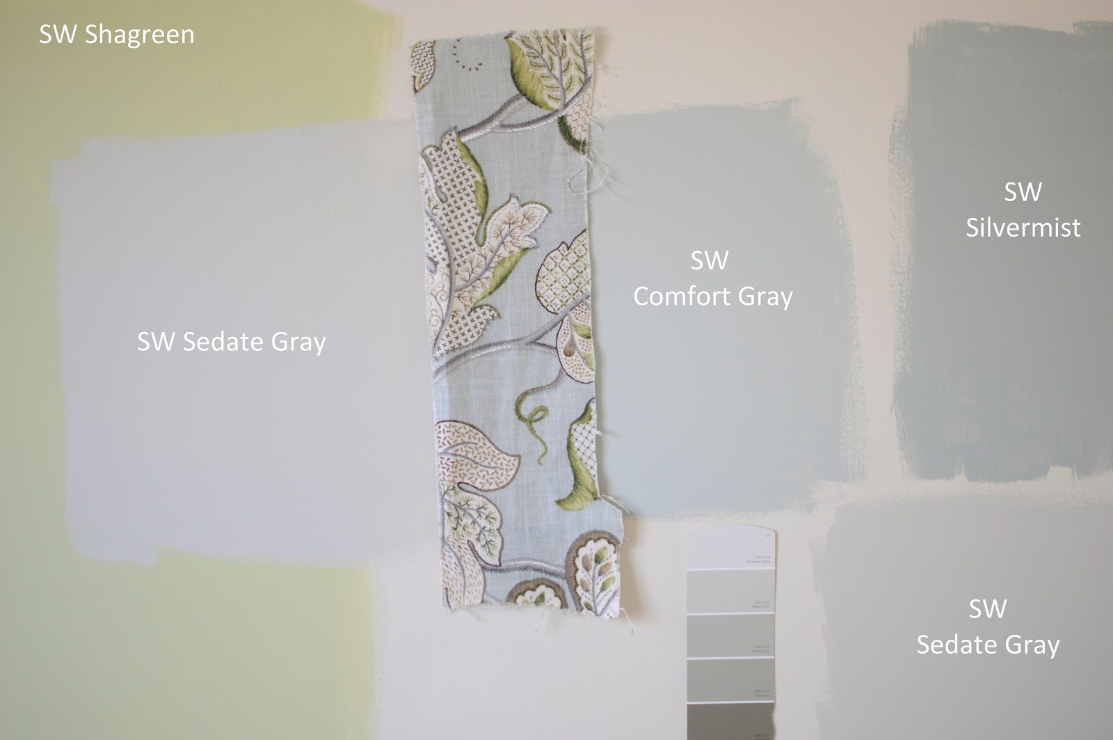 I Painted Some Squares On The Wall To Visualize Sherwin Williams Comfort Gray Sw Silvermist And Sedate With Fabric