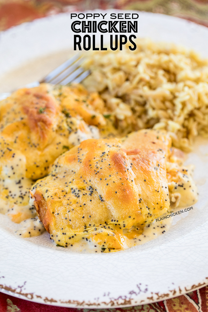 Poppy Seed Chicken Roll Ups - heaven in a pan!! Chicken and cream cheese wrapped in crescent rolls and topped cream of chicken soup, milk, cheese and poppy seeds. These are on the menu at least once a month! Everyone gobbles these up - we never have any leftovers. Our family's favorite chicken casserole!! #casserole #chicken #chickencasserole #chickenrecipes #easydinnerrecipe