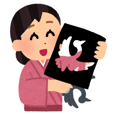 切り絵作家のイラスト(女性)