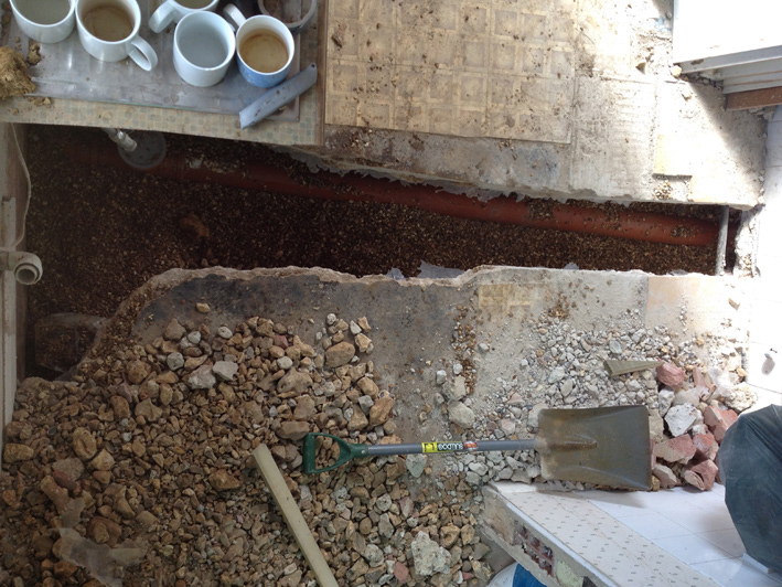 Aerial View Of New Drain From Bathroom Coffee Cups