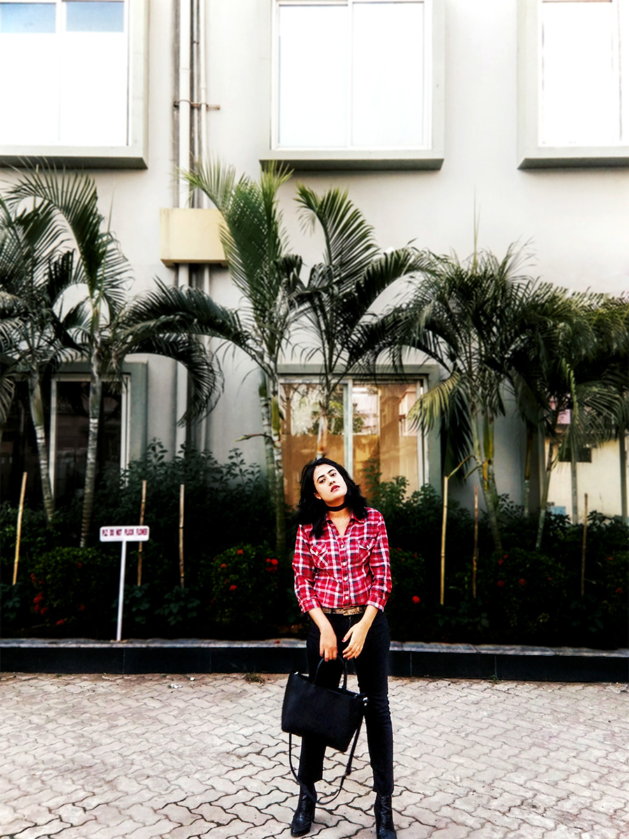 red plaid shirt,fashionblogger, the style panorama ,dheera joshi