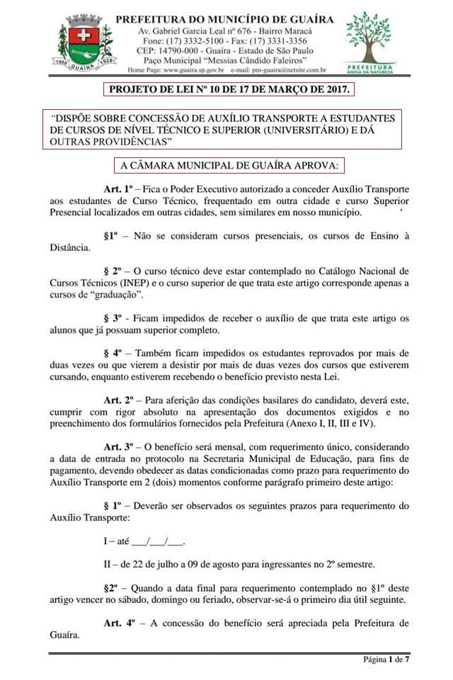 Projeto de Lei Auxílio Transporte Universitários e Técnicos