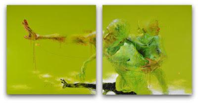 """""""La graciosa fuga"""" diptico. 100 x 100 cm. Acrílico sobre lienzo www.facebook.com/Xolotl.Polo.Artist (n. 1964, México)"""