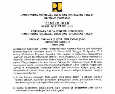 Informasi Pengadaan CPNS kementerian PUPR 2018