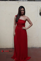 Actress Sana Khan Latest Pos in Georgius Spicy Red Long Dress at the Interview  0014.jpg