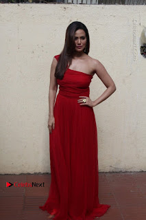 Sana Khan lovely Cleavage sin Red Hot Sleeveless gown