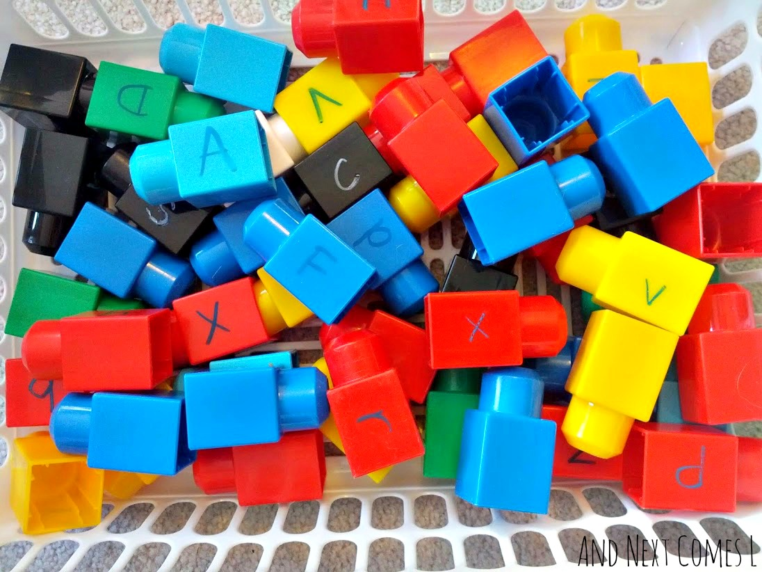 Using Mega Bloks for literacy learning with toddlers and preschoolers from And Next Comes L