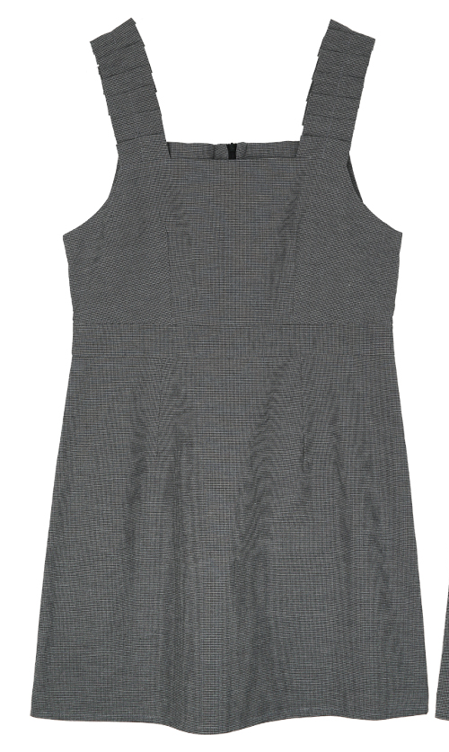 Houndstooth Pleated Strap Pinafore Dress