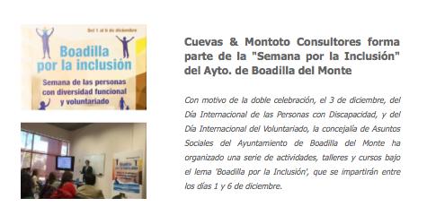 Participación en la Semana por la Inclusión organizada por el Ayuntamiento de Boadilla del Monte (Madrid).