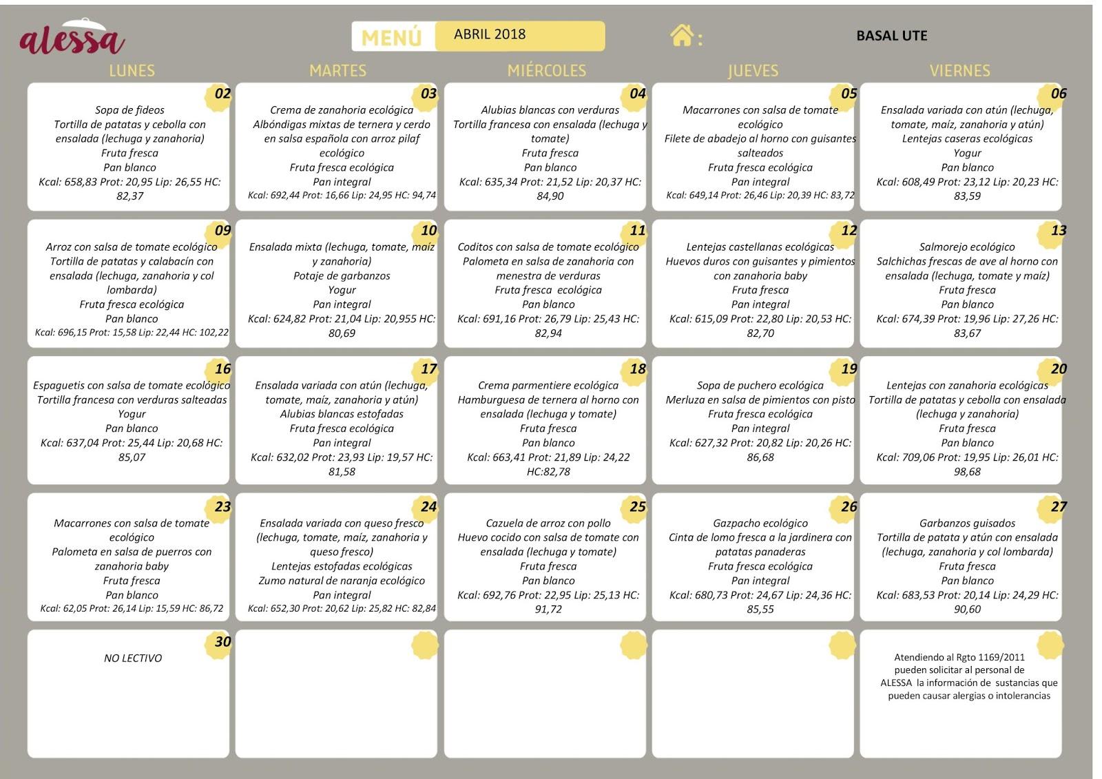 CEIP Francisco Ayala Ogíjares: Menú comedor escolar mes de abril ...