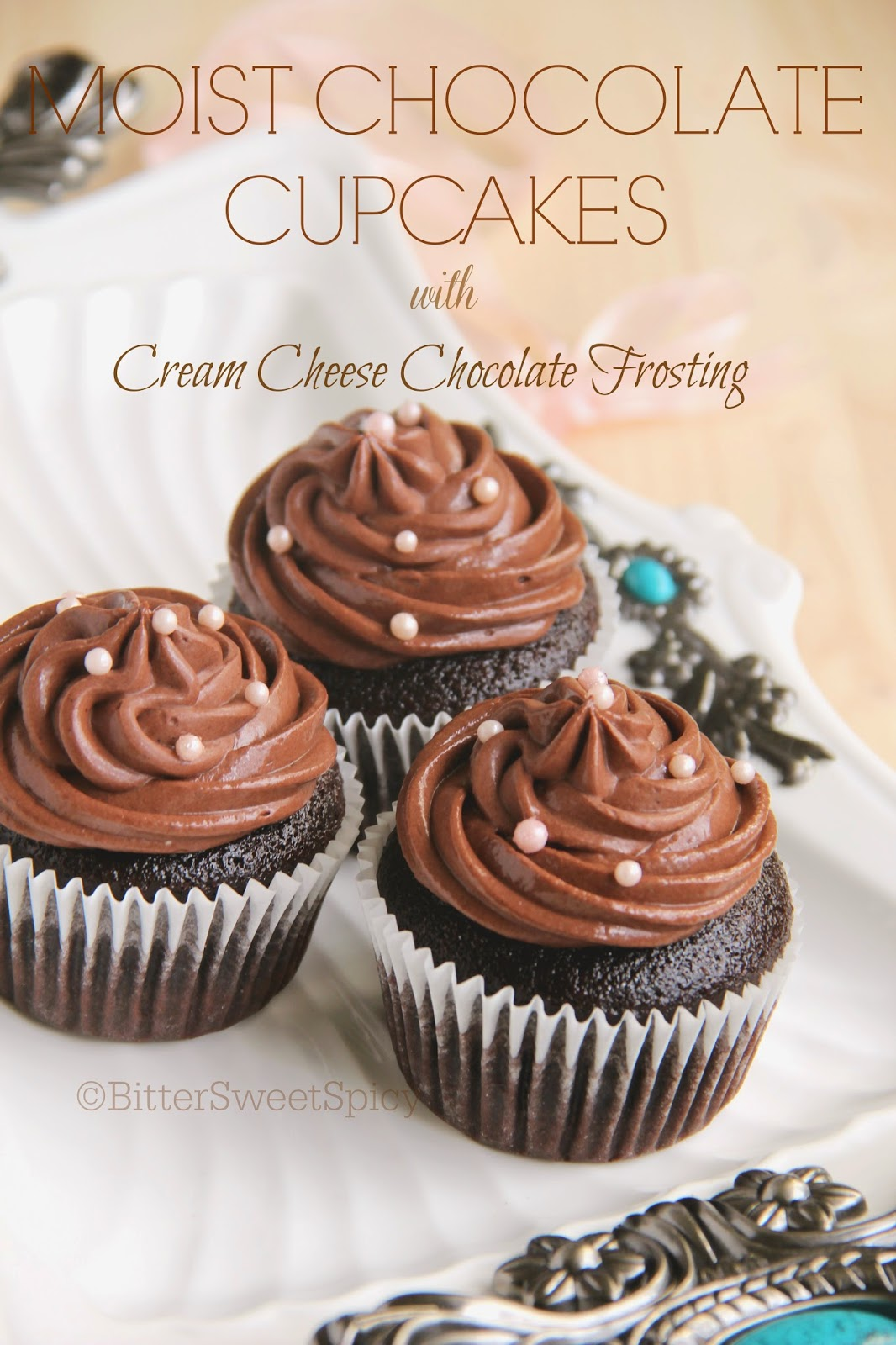 Bittersweetspicy Moist Chocolate Cupcakes With Cream