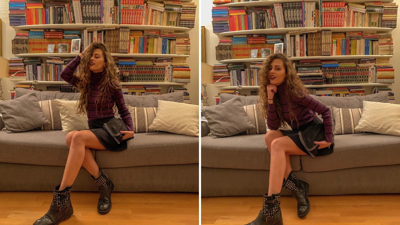 outfit versione rock golf viole e biker boots, come vestirsi rock, fashion blogger Italia, Italian fashion blog, fashion blog milano, fashion need, Valentina Rago